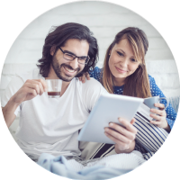man, woman, couple, home, bed, tablet, computer, estatements, banking